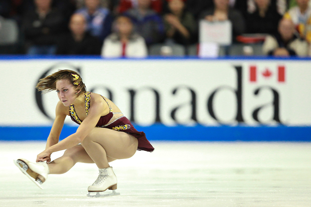20101030 -- Kingston, Ontario -- Amelie Lacoste of Canada skates to a bronze medal in the ladies competition at Skate Canada International in Kingston, Ontario, Canada, October 30, 2010. <br /> AFP PHOTO/Geoff Robins