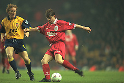 Liverpool, England - Wednesday, November 27th, 1996: Liverpool's Stig Inge Bjornebye and Arsenal's Ray Parlour during the 4th Round of the League Cup at Anfield. (Pic by David Rawcliffe/Propaganda)