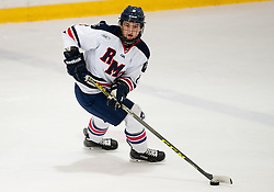 March 12 2016: Robert Morris Colonials defenseman Eric Israel (8) skates with the puck during the first period in game two of the Atlantic Hockey quarterfinals series between the Bentley Falcons and the Robert Morris Colonials at the 84 Lumber Arena in Neville Island, Pennsylvania (Photo by Justin Berl)