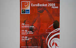 Poster with Slovenian player Raso Nesterovic in Media center in Arena Torwar a day before the beginning of the Eurobasket 2009, on September 06, 2009 in Warsaw, Poland. (Photo by Vid Ponikvar / Sportida)