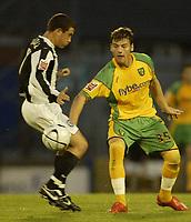 Photo: Aidan Ellis.<br /> Rochdale v Norwich City. Carling Cup. 28/08/2007.<br /> Norwich's Chris Martin slips the ball past Rochdale's Adam Rundle
