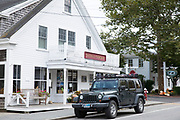 American Jeep parked by Chatham Cookware store, in the High Street at Chatham, Cape Cod New England, USA