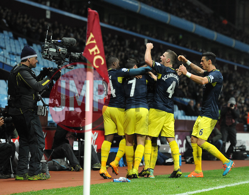Southampton's Nathaniel Clyne celebrates with his team mates after scoring. - Photo mandatory by-line: Dougie Allward/JMP - Mobile: 07966 386802 - 24/11/2014 - SPORT - Football - Birmingham - Villa Park - Aston Villa v Southampton - Barclays Premier League