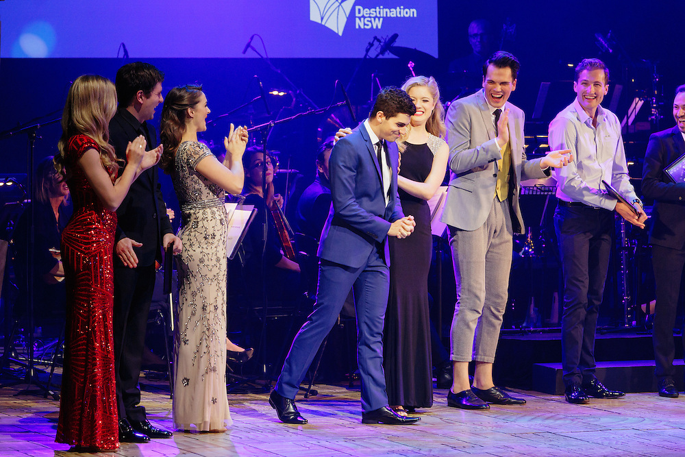 The six finalists - Georgina Hopson, Blake Appelqvist, Hilary Cole, recipient Daniel Assetta, Ashleigh Rubenach and Robert McDougall - perform on stage at the Rob Guest Endowment Gala 2015, at the Lyric Theatre in Sydney, on Monday, 9 November 2015.  <br /> <br /> Hosted by David Campbell and Lucy Durack, guest artists performing at the concert included musical theatre performers Rob Mills, Caroline O&rsquo;Connor and Jemma Rix, Dirty Dancing star Mark Vincent, 2014 Rob Guest Endowment winner Josh Robson, and cast members from CATS and Matilda the Musical.<br /> <br /> The competition was judged by three of Australian musical theatre&rsquo;s finest creatives, Kelly Abbey, Peter Casey and Gale Edwards.<br /> <br /> The 2015 Rob Guest Endowment Award recipient was Daniel Assetta. <br /> <br /> The Melbourne&rsquo;s East End Theatre District Artist Development Award, an initiative of Mike Walsh and the Marriner family awarding a $5,000 cash prize to a promising young music theatre talent, went to Robert McDougall. <br /> <br /> The Playbill Future Prospect Award went to Rubin Matters. This award, generously sponsored by Playbill, is a $1,500 cash prize to a semi-finalist who didn&rsquo;t make the finals but the judges wanted to encourage to return to the competition next year.<br /> <br /> The Rob Guest Endowment Technical Award in Honour of Sue Nattrass was awarded to Drew Cipollone, and the Rob Guest Endowment Musician Award was won by Jack Earl.