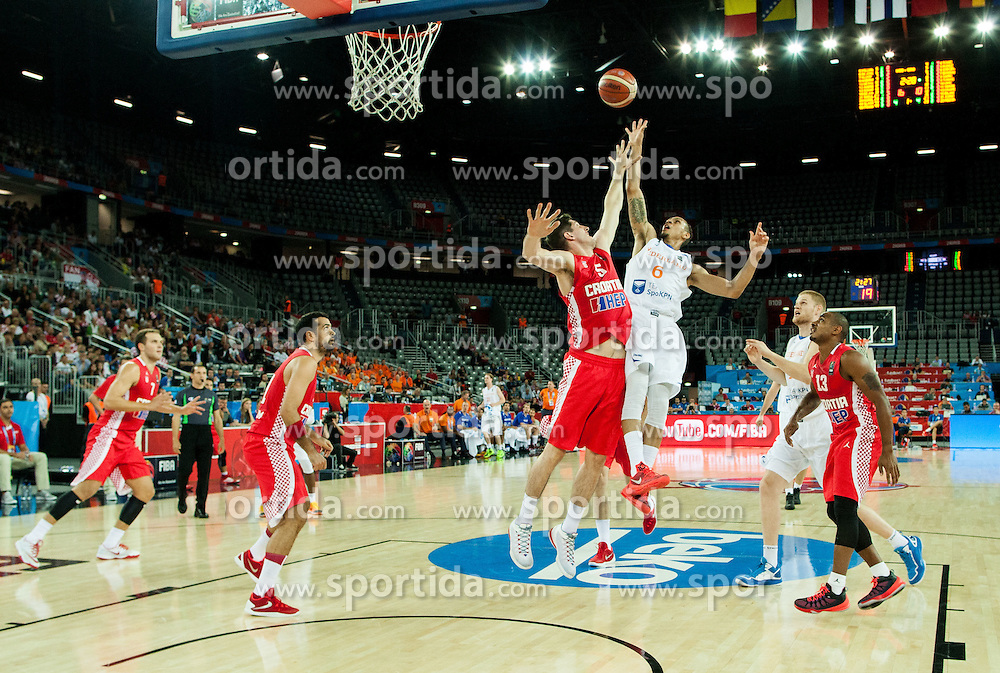 Damjan Rudez of Croatia vs Worthy de Jong of Netherlands during basketball match between Netherlands and Croatia at Day 5 in Group C of FIBA Europe Eurobasket 2015, on September 9, 2015, in Arena Zagreb, Croatia. Photo by Vid Ponikvar / Sportida