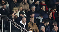 Leonardo DiCaprio (middle row, second left) and Mick Jagger (middle row, second right) are spotted in the stands of the Paris Saint-Germain v Liverpool Match at Parc Des Princes