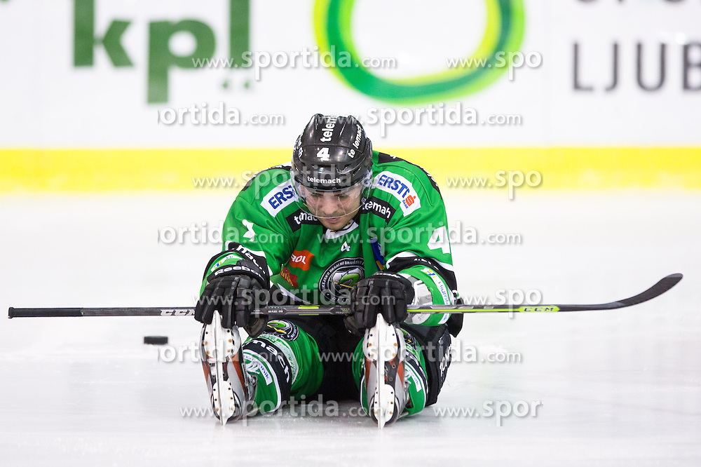 31.10.2014, Hala Tivoli, Ljubljana, SLO, EBEL, HDD Telemach Olimpija Ljubljana vs Moser Medical Graz 99ers, 15. Runde, in picture Igor Cvetek (HDD Telemach Olimpija, #4) during the Erste Bank Icehockey League 15. Round between HDD Telemach Olimpija Ljubljana and  Moser Medical Graz 99ers at the Hala Tivoli, Ljubljana, Slovenia on 2014/10/31. Photo by Matic Klansek Velej / Sportida