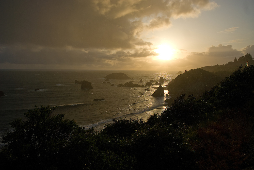 The sun setting over the Oregon coast of Route 1 on April 29, 2008.