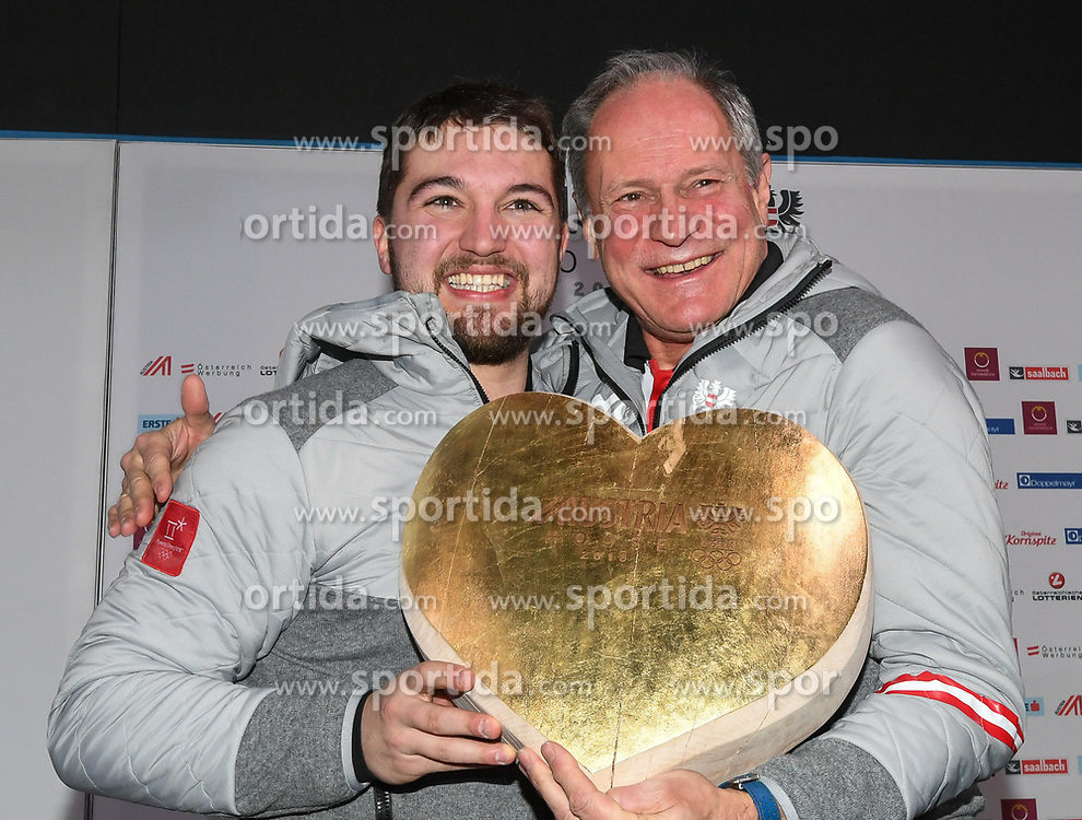 11.02.2018, Austria House, Pyeongchang, KOR, PyeongChang 2018, Medaillenfeier, im Bild David Gleirscher und Peter Mennel // during the Celebration of the gold medal of the Men's Luge Singles competition of the Pyeongchang 2018 Winter Olympic Games at the Austria House in Pyeongchang, South Korea on 2018/02/11. EXPA Pictures © 2018, PhotoCredit: EXPA/ Erich Spiess