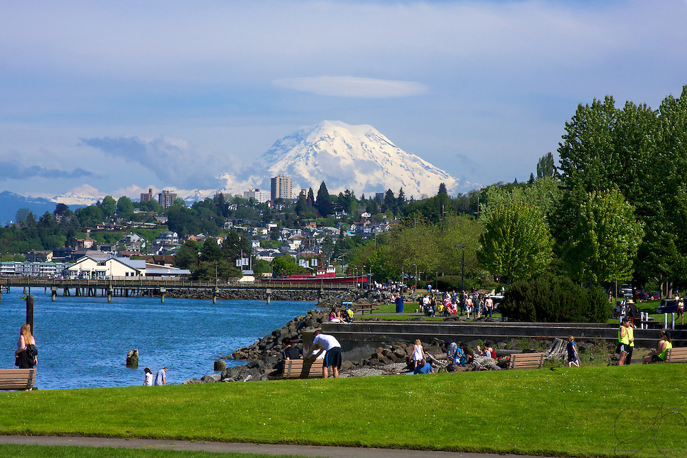 "A perfect Northwest Saturday afternoon in June w/Mt. Rainer ""out"" as seen from the Ruston Way waterfront in Tacoma during the 2010 Rainer to Ruston relay race."