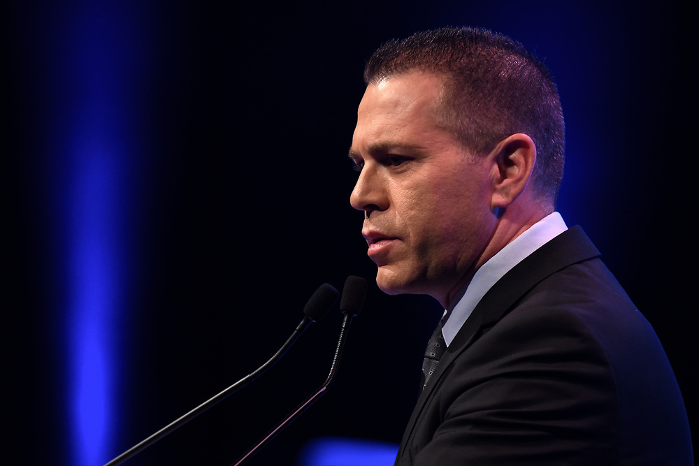 Gilad Erdan of the Likud Party and Minister of Internal Affairs, speaks at the 8th Annual International Conference of The Institute for National Strategic Studies on February 16, 2015, in Tel Aviv. Photo by Gili Yaari