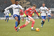 Walsall Forward,  Tom Bradshaw  looks to break open the Bury defence during the Sky Bet League 1 match between Bury and Walsall at Gigg Lane, Bury, England on 16 January 2016. Photo by Mark Pollitt.