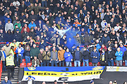 A blue flare is let off by the Leeds fans after Patrick Bamford (9) of Leeds United scored a goal to give a 0-1 lead to the away team during the EFL Sky Bet Championship match between Bristol City and Leeds United at Ashton Gate, Bristol, England on 9 March 2019.