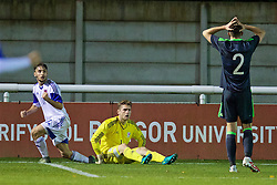 BANGOR, WALES - Tuesday, November 15, 2016: Wales' goalkeeper Feral Hale-Brown looks dejected after conceding a penalty to Luxembourg during the UEFA European Under-19 Championship Qualifying Round Group 6 match at the Nantporth Stadium. (Pic by David Rawcliffe/Propaganda)