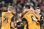 hull city celebrate Hull City midfielder Tom Huddlestone scoring to go 3-0 up during the Sky Bet Championship match between Hull City and Middlesbrough at the KC Stadium, Kingston upon Hull, England on 7 November 2015. Photo by Ian Lyall.