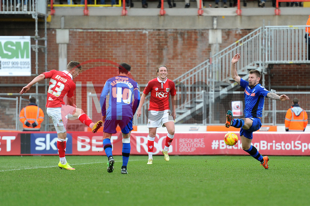Bristol City's Joe Bryan takes a shot at goal. - Photo mandatory by-line: Dougie Allward/JMP - Mobile: 07966 386802 - 28/02/2015 - SPORT - football - Bristol - Ashton Gate - Bristol City v Rochdale AFC - Sky Bet League One