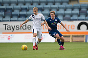 14th September 2019; Dens Park, Dundee, Scotland; Scottish Championship, Dundee Football Club versus Alloa Athletic; Alan Trouten of Alloa Athletic and Finlay Robertson of Dundee
