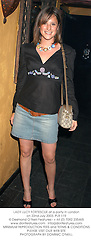 LADY LUCY FORTESCUE at a party in London on 22nd July 2003.PLR 119