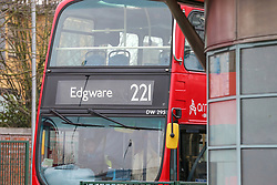 © Licensed to London News Pictures. 28/12/2018. London, UK.  A general view of 221 London bus driven out of the bus station. A London bus driver was injured after gunshots were fired outside a Turnpike Lane tube station in North London. The 221 bus driver, aged in his 50s, suffered a cut to his forehead from flying glass just after midnight.  Photo credit: Dinendra Haria/LNP