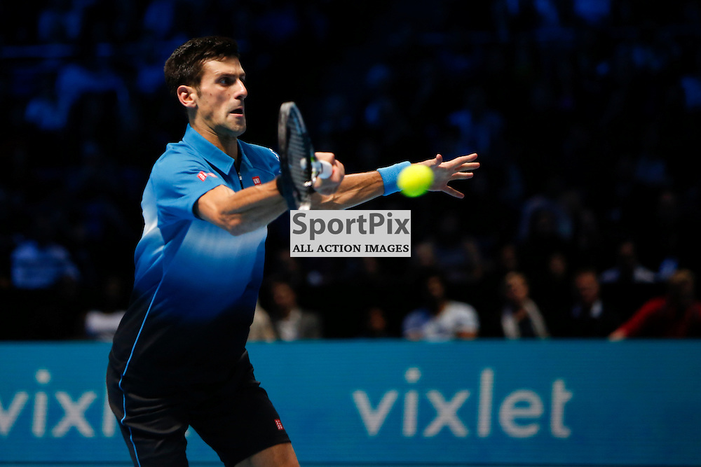 LONDON, ENGLAND - November 17: Novak Djokovic in action during a match between Novak Djokovic and Roger Federer at the ATP World Tour Finals 2015 at the O2 Arena, London.   on November 17, 2015 in London, England. (Credit: SAM TODD | SportPix.org.uk)