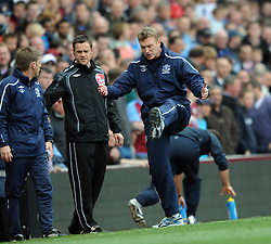 Everton Manager David Moyes does his Basil Fawlty impression during the game Aston Villa and Everton at Villa Park, Birmingham , England,12th April 2009.