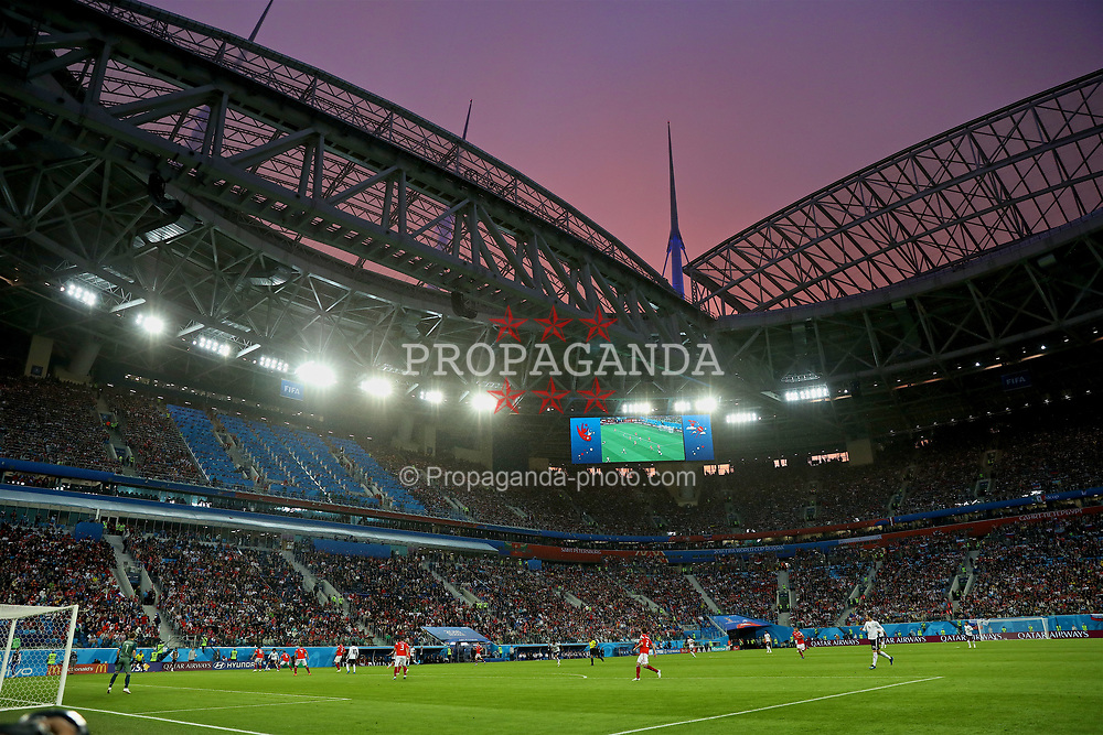 SAINT PETERSBURG, RUSSIA - Tuesday, June 19, 2018: Russia take on Egypt under a red sky during the FIFA World Cup Russia 2018 Group A match between Russia and Egypt at the Saint Petersburg Stadium. (Pic by David Rawcliffe/Propaganda)
