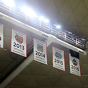 STORRS, CONNECTICUT- NOVEMBER 17: The National Champions banners on the rafters before the UConn Huskies Vs Baylor Bears NCAA Women's Basketball game at Gampel Pavilion, on November 17th, 2016 in Storrs, Connecticut. (Photo by Tim Clayton/Corbis via Getty Images)