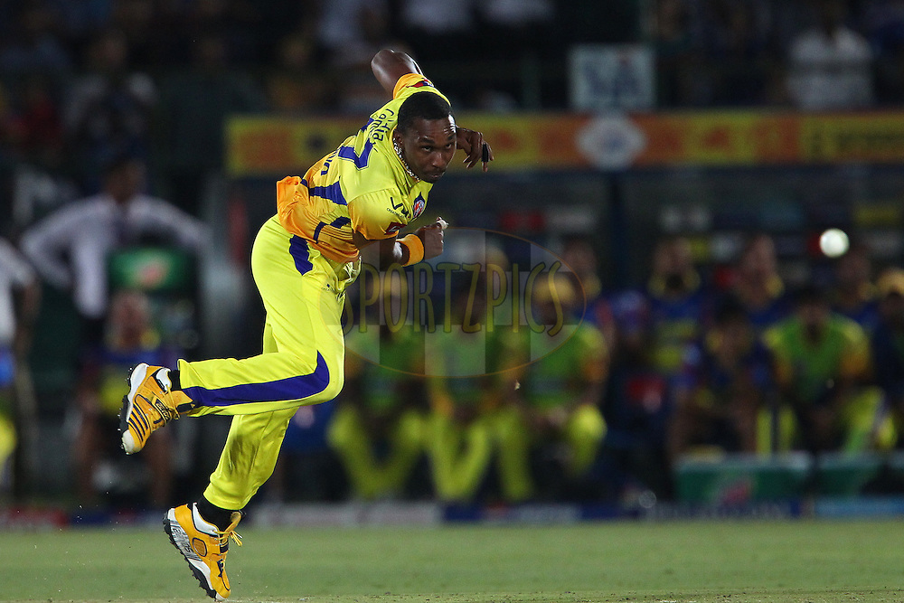 Dwayne Bravo during match 61 of the Pepsi Indian Premier League ( IPL) 2013  between The Rajasthan Royals and the Chennai SUperkings held at the Sawai Mansingh Stadium in Jaipur on the 12th May 2013..Photo by Ron Gaunt-IPL-SPORTZPICS ..Use of this image is subject to the terms and conditions as outlined by the BCCI. These terms can be found by following this link:..http://www.sportzpics.co.za/image/I0000SoRagM2cIEc