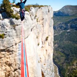 British highliner Nadeem Al-Kafaji onsights a 18m highline, 200m high, rigged in the Sordidon sector of Verdon Gorges, France...2012 © Pedro Pimentel