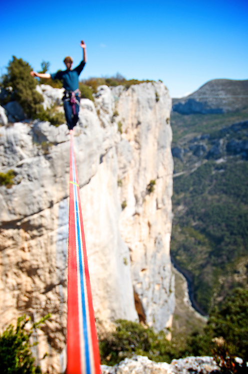 British highliner Nadeem Al-Kafaji onsights a 18m highline, 200m high, rigged in the Sordidon sector of Verdon Gorges, France...2012 © Pedro Pimentel
