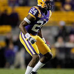 November 12, 2011; Baton Rouge, LA, USA; LSU Tigers defensive back Tharold Simon (24) against the Western Kentucky Hilltoppers during the second half of a game at Tiger Stadium. LSU defeated Western Kentucky 42-9. Mandatory Credit: Derick E. Hingle-US PRESSWIRE