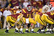 University of Southern California Trojan quarterback Matt Leinart signals a play at the line of scrimmage during a 70 to 17 win over the Arkansas Razorbacks on September 17, 2005 at Los Angeles Memorial Coliseum in Los Angeles, California..Mandatory Credit: Wesley Hitt/Icon SMI