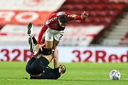 Middlesbrough midfielder Marcus Tavernier (7) is fouled by Charlton Athletic midfielder Darren Pratley (15) during the EFL Sky Bet Championship match between Middlesbrough and Charlton Athletic at the Riverside Stadium, Middlesbrough, England on 7 December 2019.