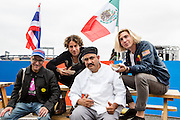 Queens, NY - October 2, 2016. (Left to right) Joe DiStefano, Danny Miller, Galdino Molinero, owner and chef  of Tortas Neza, and Max Harwod at The Feastival of Queens at The Meadows festival at Citi Field.