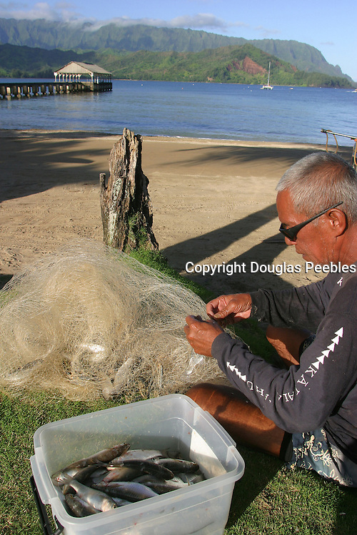 Net fisherman, Hanalei, Kauai, (editorial use only, no model release)<br />
