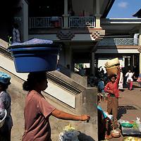 Indonesia, Bali, Women work at market in town of Gianyar