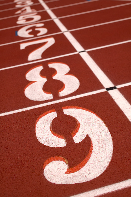 Starting lanes at a track and field event track