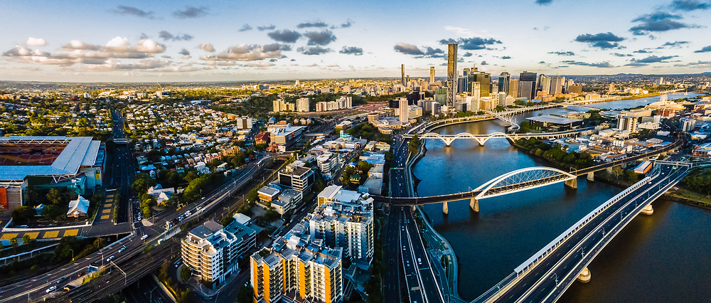 Aerial panorama of Brisbane city and Brisbane River, Queensland, Australia