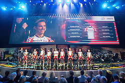 © Licensed to London News Pictures . 03/07/2014 . Leeds , UK . Team Katusha from Russia cycle on to the stage .  Tour de France Team Presentation in front of a live audience of 10,000 people at the Leeds Arena and worldwide TV audience in excess of 300 million . Photo credit : Joel Goodman/LNP