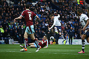 Joe Garner of Preston tries a shot during the Sky Bet Championship match between Preston North End and Burnley at Deepdale, Preston, England on 22 April 2016. Photo by Simon Brady.