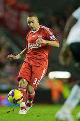 LIVERPOOL, ENGLAND - Saturday, November 22, 2008: Liverpool's Nabil El Zhar in action against Fulham during the Premiership match at Anfield. (Photo by David Rawcliffe/Propaganda)