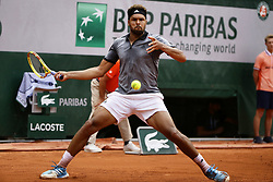 May 29, 2019 - Paris, France - Jo Wilfried Tsonga returns the ball to Japan's Kei NISHIKORI during their men's singles second round match on day four of The Roland Garros 2019 French Open tennis tournament in Paris on May 29, 2019. (Credit Image: © Ibrahim Ezzat/NurPhoto via ZUMA Press)
