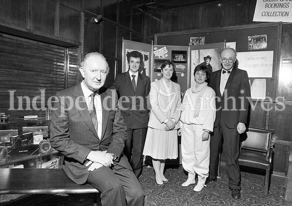 Liam Conroy, Chairman of the Gaiety Theatre with his new Management Team at a reception in the Theatre, Peter Reilly, General Manager, Aileen Conner, Deputy General Manager, Maureen McGlynn, Production Co-Ordinator, circa January 1985 (Part of the Independent Newspapers Ireland/NLI Collection).