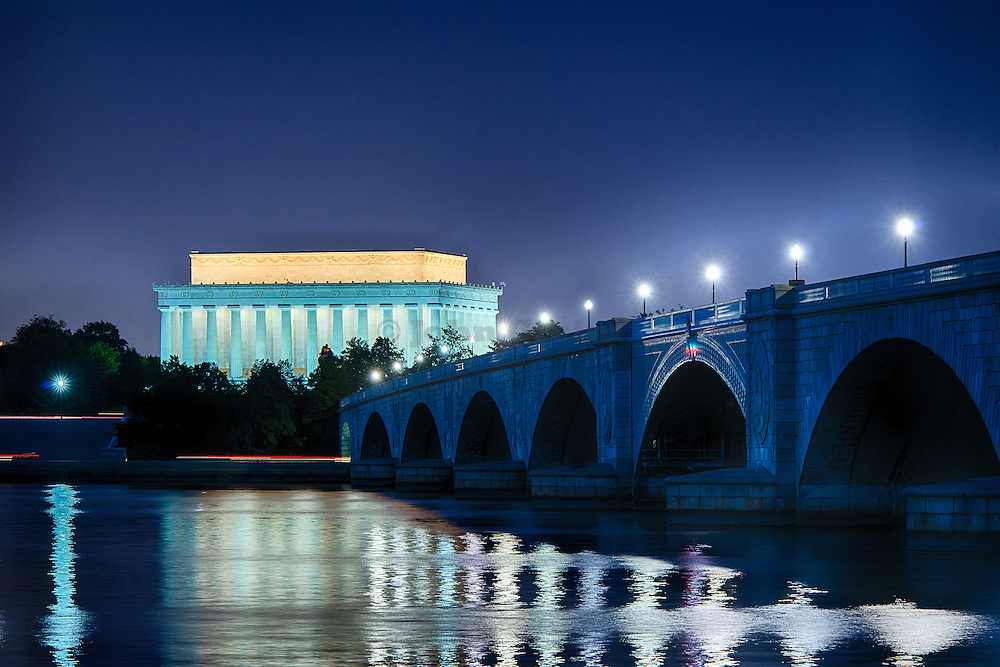 Lincoln Memorial and the Arlington Memorial Bridge at night, Washington, DC, USA
