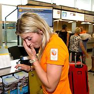 24-7-2016 SCHIPHOL - - Estavana Polman in the departure hall of the airport. Naomi van As and Sven Kramer in the departure hall of the airport. Olympic Team, with the majority of the Dutch athletes who come to the Olympic Games, departs with a specially dyed device KLM to Rio de Janeiro. COPYRIGHT ROBIN Urecht<br /> 24-7-2016 SCHIPHOL - - Estavana Polman in de vertrekhal van Schiphol. Naomi van As en Sven Kramer in de vertrekhal van Schiphol.  Het Olympisch Team, met het grootste deel van de Nederlandse sporters die uitkomen op de Olympische Spelen, vertrekt met een speciaal geverfd toestel van KLM naar Rio de Janeiro. COPYRIGHT ROBIN URECHT