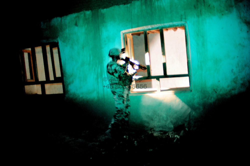 During a nightpatrol , random house searches are made by German ISAF soldiers to be sure Taliban or insurgents, who might have an interest in attacking german soldiers are not hiding close to the armybase.<br /> For more caption info, please contact photographer.