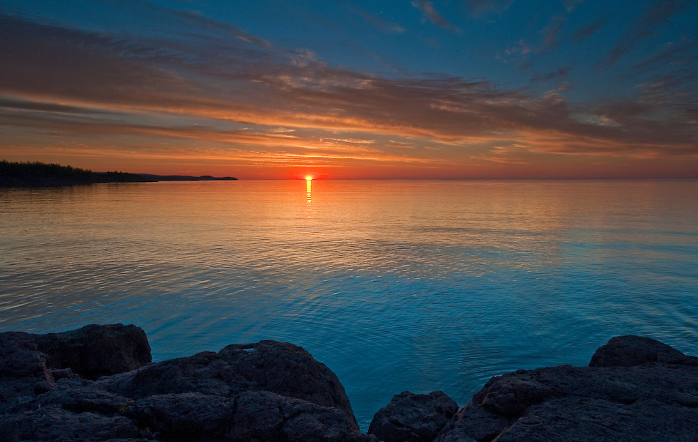 Summer Solstice sunrise on the North Shore of Lake Superior at Gooseberry Falls State Park, Minnesota