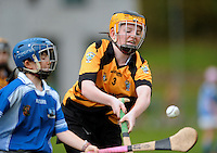 20 Aug 2016:  Jen O'Donoghue, right, Kilkenny, in action against Helena Tarpey, Galway.  Camogie U14.  2016 Community Games National Festival.  Athlone Institute of Technology, Athlone, Co. Westmeath. Picture: Caroline Quinn