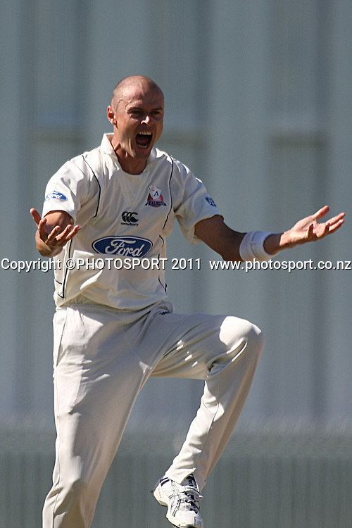 Chris Martin appealing for LBW  for the Auckland Aces,Cricket, Northern Knights Vs The Auckland Ace's during day four of their Plunket Shield Game at Seddon Park in Hamilton, Thursday 17 March 2011.<br /> Photo: Dion Mellow / photosport.co.nz