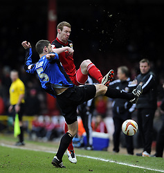 Bristol City's Stephen Pearson battles for the ball with Barnsley's Rory Delap - Photo mandatory by-line: Joe Meredith/JMP - Tel: Mobile: 07966 386802 23/02/2013 - SPORT - FOOTBALL - Ashton Gate - Bristol -  Bristol City V Barnsley - Npower Championship